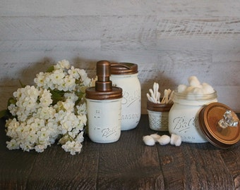Mason jar distressed rustic bathroom/ vanity set with copper lids and pump, home decor, country, shabby chic, soap dispenser, bathroom decor
