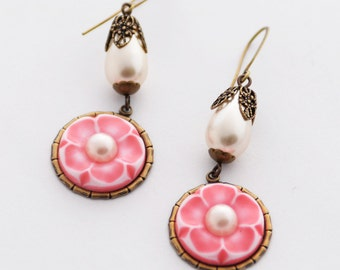 Cherry Blossom Earrings, Cute Pink Floral Earrings, Sakura Earrings, Pearl Earrings, Kawaii Jewelry Pink Earrings, JewelryFineAndDandy SRAJD