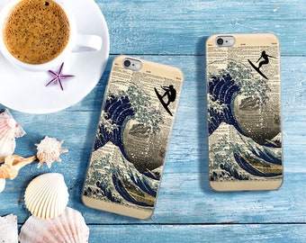 Surfing the Great Wave off Kanagawa iPhone Case, Dictionary Art 7 8 X Case, iPhone 7 Plus Case, Surfer GIrl Beach Nautical iPhone 6s 6 plus
