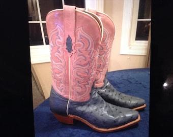 Tony Lama Full Quill Ostrich Cowboy Boots