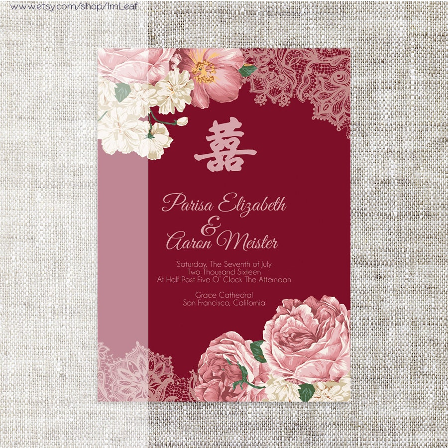 Contemporary Chinese Wedding Invitation Card Template Ensign ...
