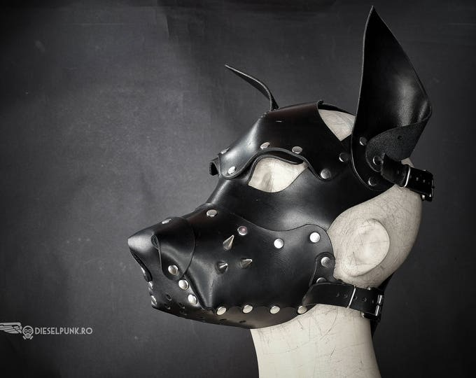 Leather Dog Mask - Fetish Mask - Slave Mask - Sex Mask - BSDM Mask - pup play mask