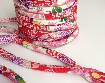 cords Japanese 8mm, Chirimen, cherry blossom pattern, red (C3006-8)