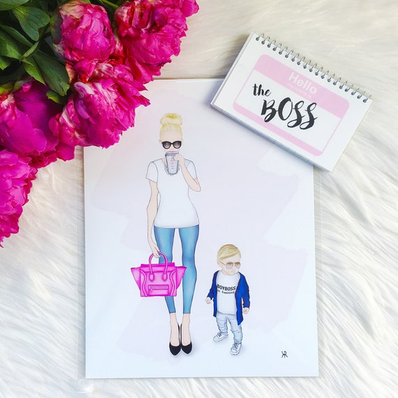 Print of original girlboss and boyboss in training, mother son art, Girl Boss Art, Bossy Babe Art, custom girlboss