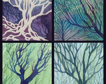 Mystic Abstract Tree Paintings ARCHIVAL ART PRINT 8x10