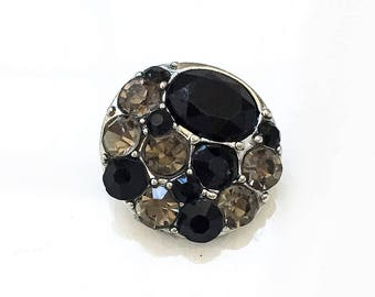new stock diy  snap jewelry silver tone metal and black and gray rhinestone interchangeable 18mm snap