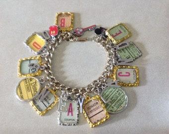 Disneyland Ticket Altered Art Charm Bracelet Take Two