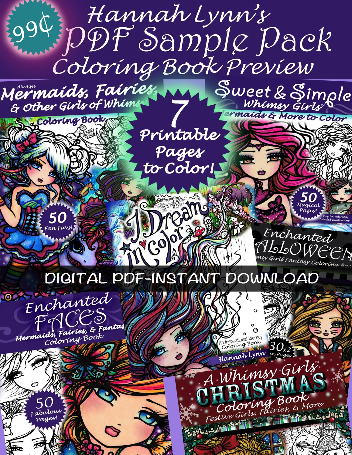 FREE Sample PDF DIGITAL Printable Coloring Book All Ages Il Fullxfull Free Pdf Digital Maui Mermaids Island Whimsy