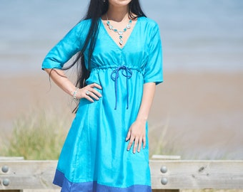Handwoven Bengal Silk Turquoise Ladies Dress