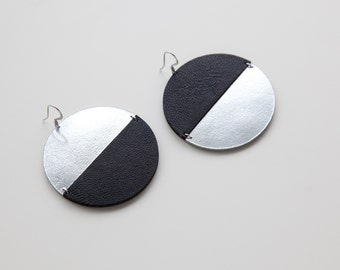 Large mismatched disc leather earrings | Silver and black circle earrings | Moon phase earrings | Half moon earrings | Moon eclipse earrings