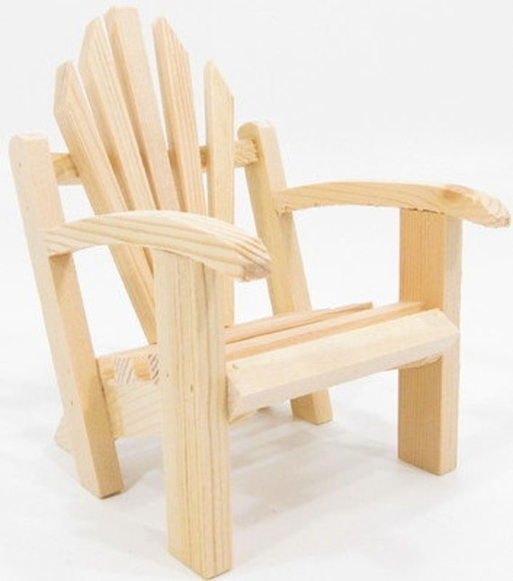 Beautiful Wooden Chair   One Unfinished Mini Adirondack Chair   Doll House,  Miniatures, Fairy Garden
