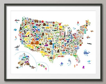 Animal Map of the United States, Map for children and kids, Art Print (4266)
