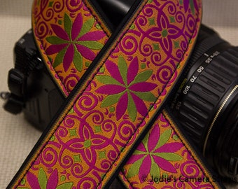 "Custom Camera Strap 2"" Wide Pinwheel Hot Pink Green Orange DSLR SLR P&S 5588"