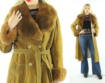 70s Suede Shearling Coat Leather Jacket Belted Trench Brown Fur Vintage 1970s Large L Hippie Boho Festival FAshion