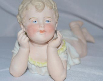 German Porcelain Bisque Piano Baby Heubach Child Large Size
