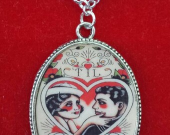 Old school tattoo style cameo pendant necklace