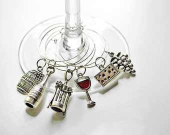 Set of 6 Wine Themed Wine Glass Charms