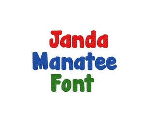 Janda Manatee Embroidery Font, comes in 3 sizes in 10 formats