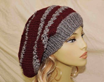 Extra Large Unisex Hand Knit Slouchy Beanie Burgundy and Grey