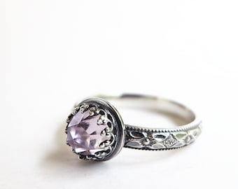 Amethyst Ring, Sterling Silver, purple gemstone, February Birthstone, stacking