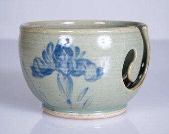 Handmade Ceramic Yarn Bowl in Celadon Green with Blue Irises. Pottery Knitting Bowl, Crochet Bowl, Yarn Holder – DIY Craft Supplies & Gifts