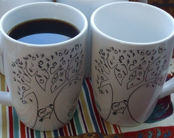 Valentine Couples Gift, Mugs, Personalized Gift, Family Tree, Personalized Gift, Wedding, Anniversary, Baby,  Apple Tree Mugs Folk -Two