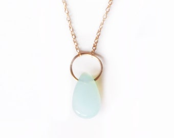 14k Peruvian Blue Opal Drop Necklace   14k Gold Necklace