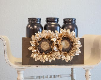 Mason Jar Sunflower Design