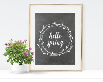 Hello Spring Printable - Instant Download - Spring Chalkboard Print