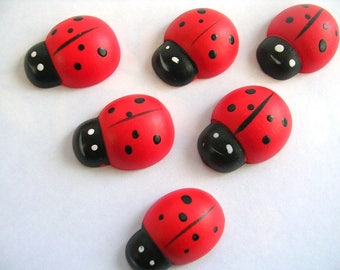 LOT 6 wood Motif APPLIQUES: Ladybug red/black 25 * 19mm