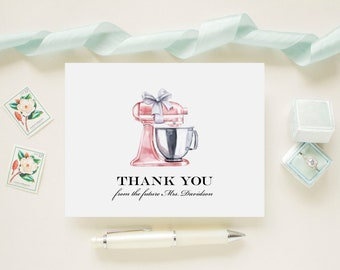 Light Pink Stand Mixer Bridal Shower Personalized Wedding Thank You Cards, Bridal Shower, Wedding, Newlywed Monogram Future Mrs. Note Cards