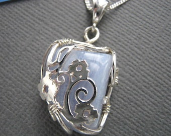 Blue agate necklace, silver blue lace agate pendant, wire wrapped agate jewelry, upcycled silver jewelry, repurposed silver, 18 inch chain