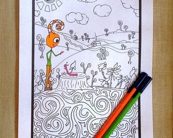 Kids Activity Printable Coloring Page Forest Instant pdf Digital Download Original Art