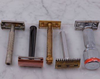 SALE: Gillette Safety Razor Lot Featuring Z2 Flare Tip Super Speed, WWII Tech, Old Type, Open Comb, Stahly Live Blade w/ FREE Razor Blades