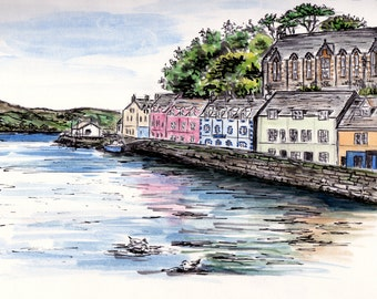 Watercolor Postcard, Portree, Isle of Skye, Scotland