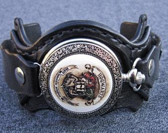 Harry Potter Pocket Watch, Wrist Watch, Black Leather