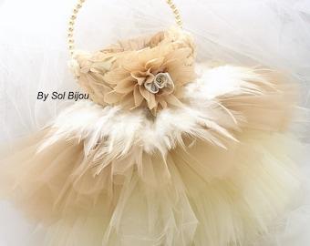 Flower Girl Basket, Tutu Basket, Ivory, Tan, Beige, Champagne, Elegant Wedding, Vintage, Gatsby Wedding, Tulle, Feather, Pearls, Chiffon