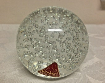 Vintage Italian Murano Glass Paperweight BUBBLES, ART GLASS