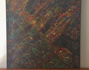 Original Abstract Expressionism Painting in the Style of Jackson Pollock