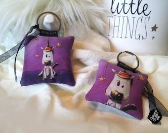 1 x fabric Keychain / bag Illustration Unicorn magic handmade cotton OekoTex
