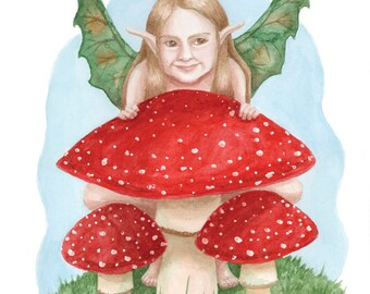 "The Playful Mushroom Nymph - 8x10"" Matted Art Print (11x14"" framing size) - Digital Print, Original Watercolor Painting by Victoria Chapman"