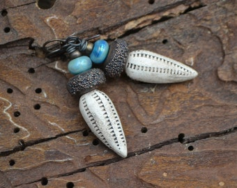 Ceramic Pod Earrings with Electroformed Lampwork Beads #264