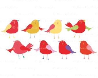 Cute Birds Clipart Bird Graphics Little Bird Clip Art Kids, Children,Nursery, Craft Supply, Card Making, Digital Scrapbooking
