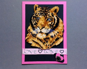 Wild Tiger Love Hand Made Fabric Love or Valentine's Day Card