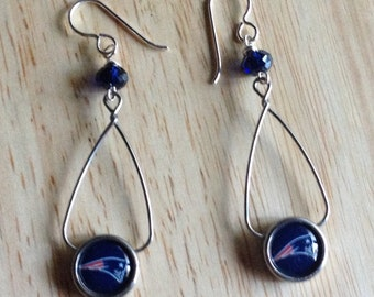 New England Patriots french loop earrings