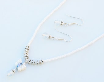 White Jewellery Set - SURF STYLE Polymer Butterfly & Opalite Small Pendant Necklace and Earrings