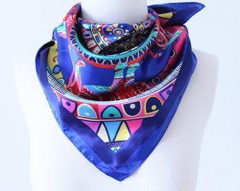 Colorful Seamless Geometric Square Scarves/Soft Silk Head Scarf/Scarf Headband/Pink, Yellow and Blue/Boho Style Wide Head Wrap/Bandanas