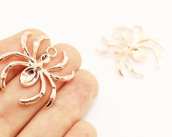 Rose Gold Plate Spider Charm, Spider pendant, Spider jewelry, Spider Connectors, Necklace Connectors, Halloween Charms, trick or treat, SPCP