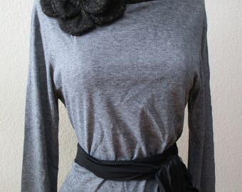 Turtleneck gray color top with black rose decoration plus made in USA (v106)