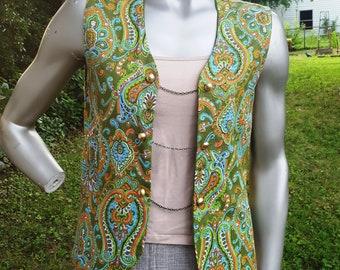 Womens Vest, 60s Vest, Vintage Vest, Hippie Vest, Boho, 60s Costume, Vintage Costume, Paisley, Hippy, Bohemian, Vest Size 12